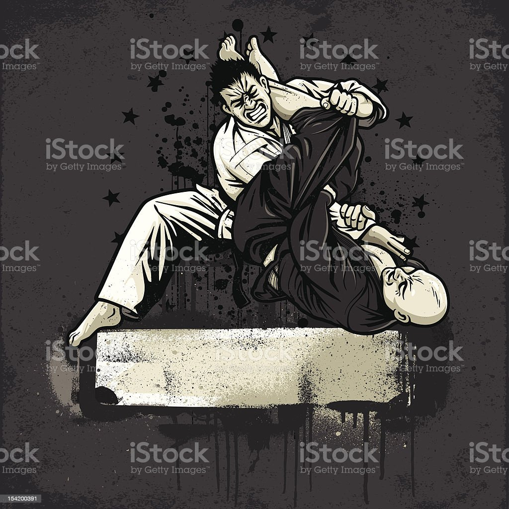 Brazilian Jiu Jitsu Fighters: Armbar from Guard - Grunge Version vector art illustration