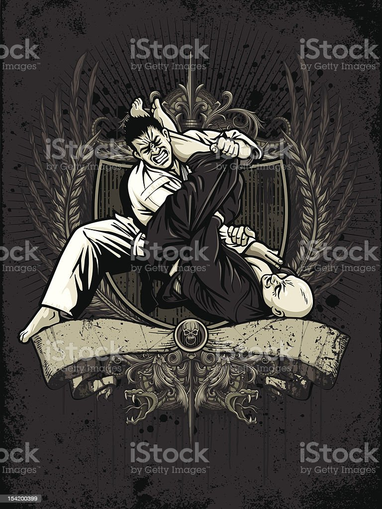 Brazilian Jiu Jitsu Fighters: Armbar from Guard - Heraldry Version vector art illustration