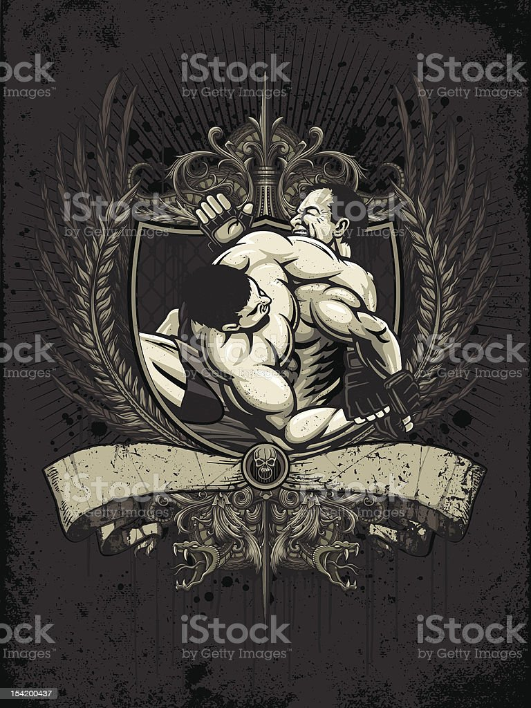 Brazilian Jiu Jitsu Fighters: Kimura Tap Out - Heraldry Version vector art illustration