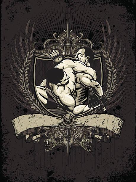 brazilian jiu jitsu fighters: kimura tap out - heraldry version - wrestling stock illustrations, clip art, cartoons, & icons