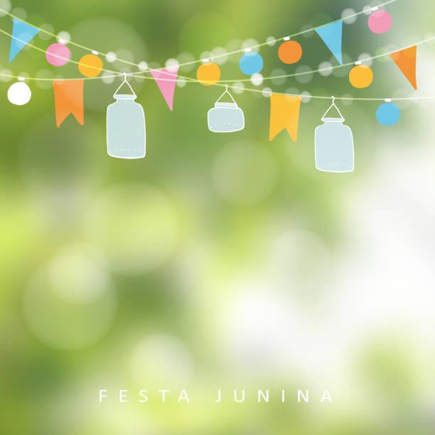 ilustrações, clipart, desenhos animados e ícones de festa brasileira de junho, festa junina. luzes, pote de pomo. decoração de aniversário. - festa no jardim