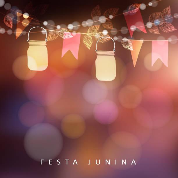 brasilianische juni partei festa junina, mittsommer feiern oder sommer-garten-party. vector illustration hintergrund mit girlande von lichtern, gläser glas laternen und flaggen - glasblumen stock-grafiken, -clipart, -cartoons und -symbole