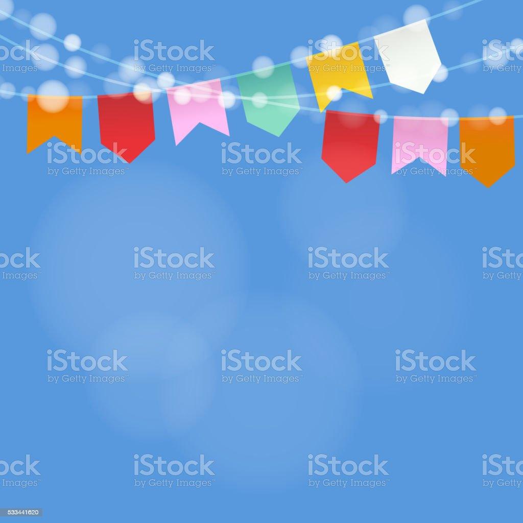 Brazilian june party. Festa junina. String of lights, party flags. vector art illustration