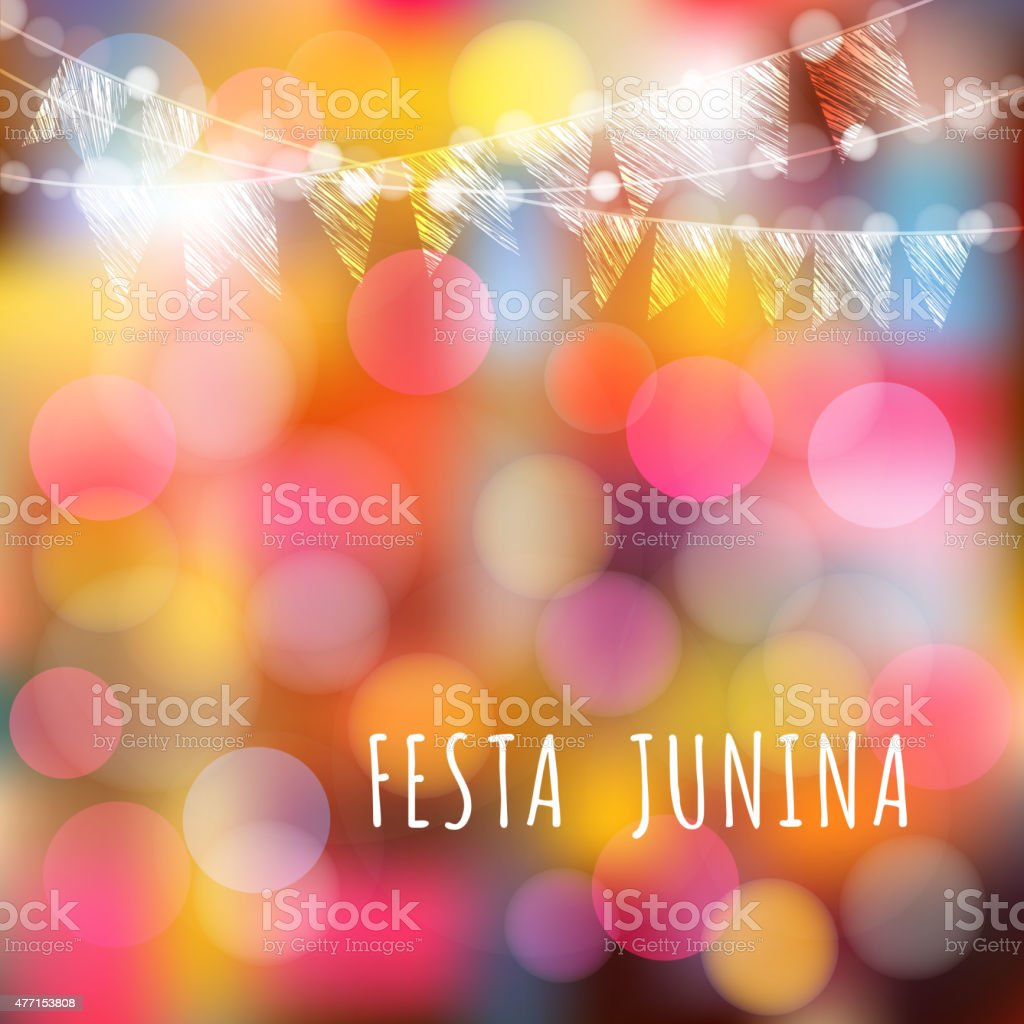 Brazilian june party, vector background, lights and flags vector art illustration