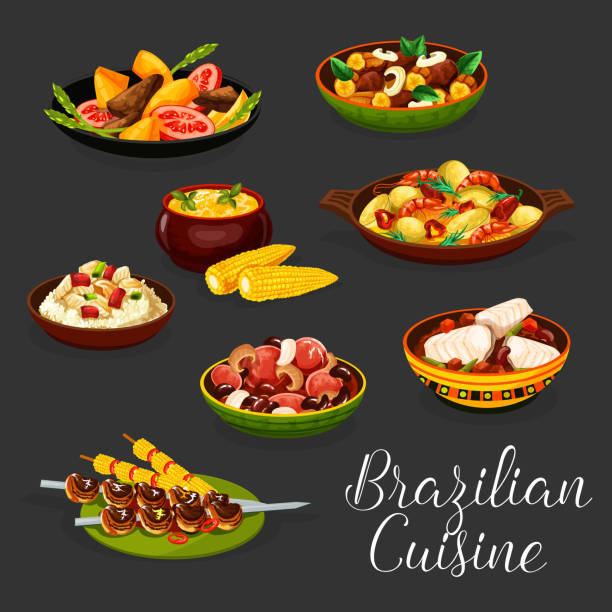ilustrações de stock, clip art, desenhos animados e ícones de brazilian meat dishes with vegetables and seafood - arroz alimento básico