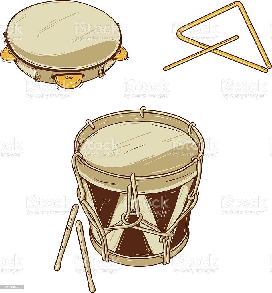 Brazilian Musical Instruments vector art illustration