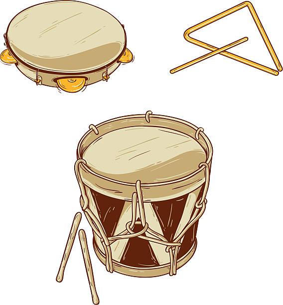 stockillustraties, clipart, cartoons en iconen met brazilian musical instruments - tamboerijn