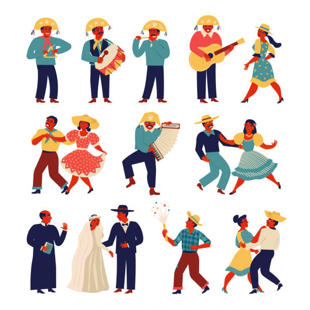 brazilian people wearing traditional costume for junina party set. vector templates for latin american holiday, the june party of brazil. - akordeon instrument stock illustrations