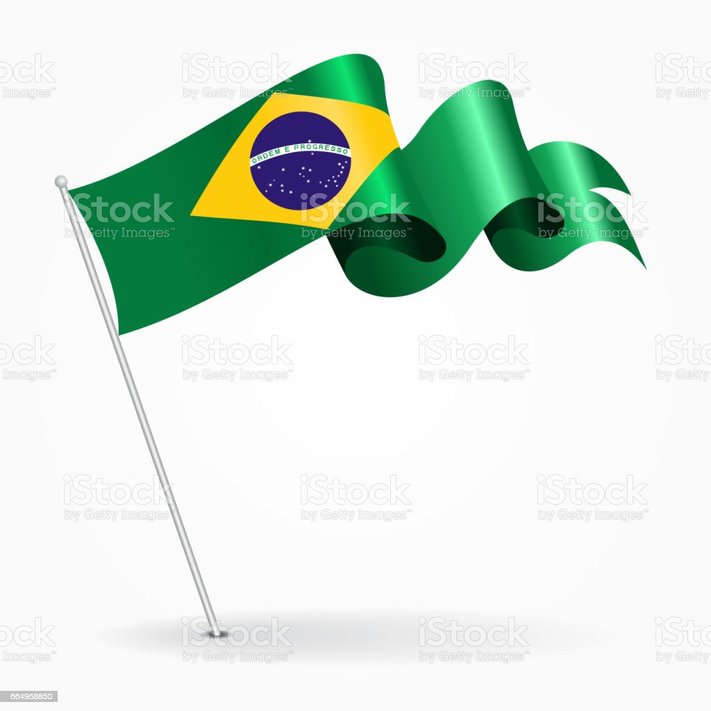 Brazilian pin wavy flag. Vector illustration. vector art illustration