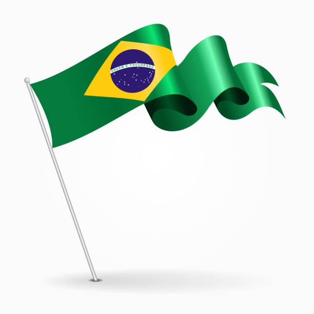 Brazilian pin wavy flag. Vector illustration. vector art illustration