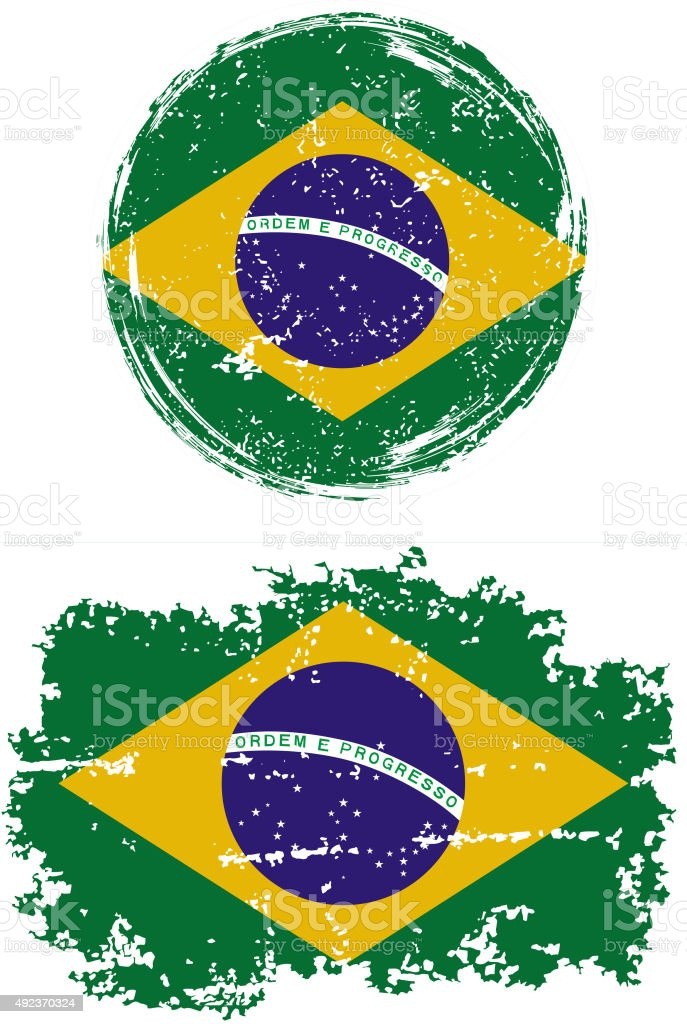 Brazilian round and square grunge flags. Vector illustration vector art illustration