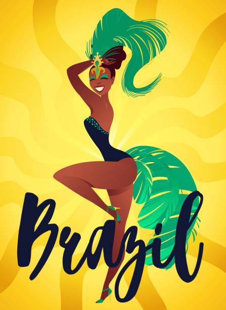 brazilian samba posters. carnival in rio de janeiro dancers wearing a festival costume is dancing. vector illustration. - jungle stock illustrations