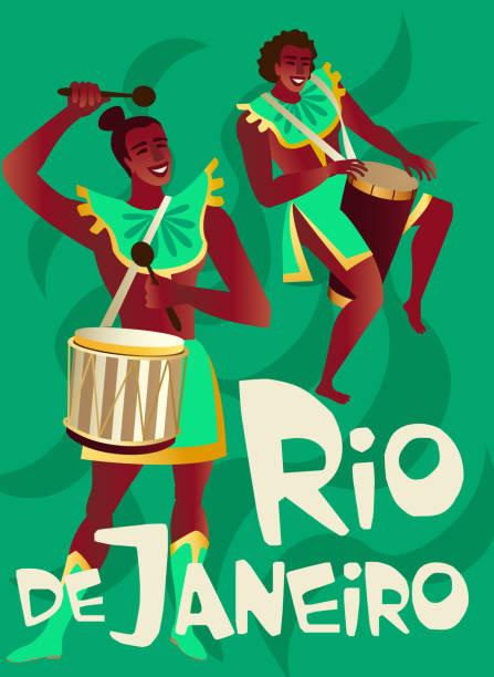 brazilian samba posters carnival in rio de janeiro dancers wearing a festival costume is dancing. vector illustration. - jungle stock illustrations