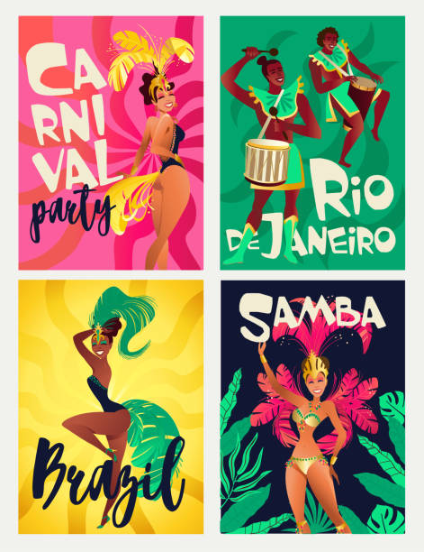 brazilian samba posters. carnival in rio de janeiro dancers wearing a festival costume is dancing. vector illustration. - symbol seksu stock illustrations