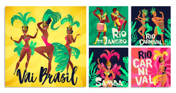 ilustrações de stock, clip art, desenhos animados e ícones de brazilian samba posters. carnival in rio de janeiro dancers wearing a festival costume is dancing. vector illustration. - rio de janeiro