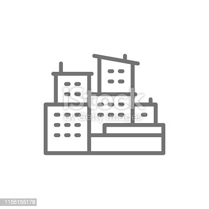 Vector brazilian slums, favelas of Brazil line icon. Symbol and sign illustration design. Isolated on white background