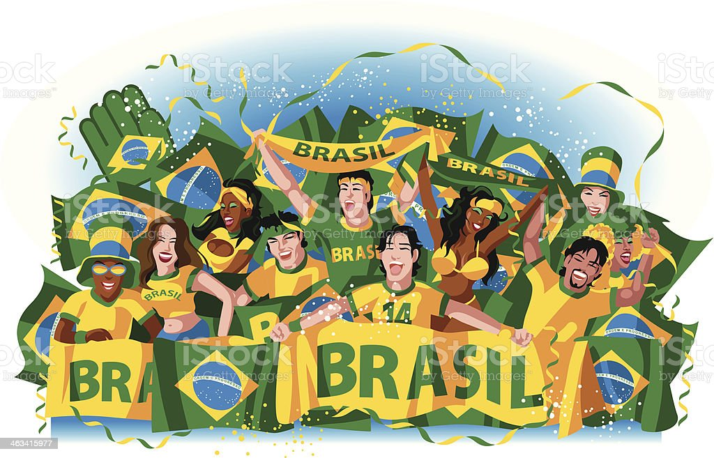 Brazilian soccer fans vector art illustration