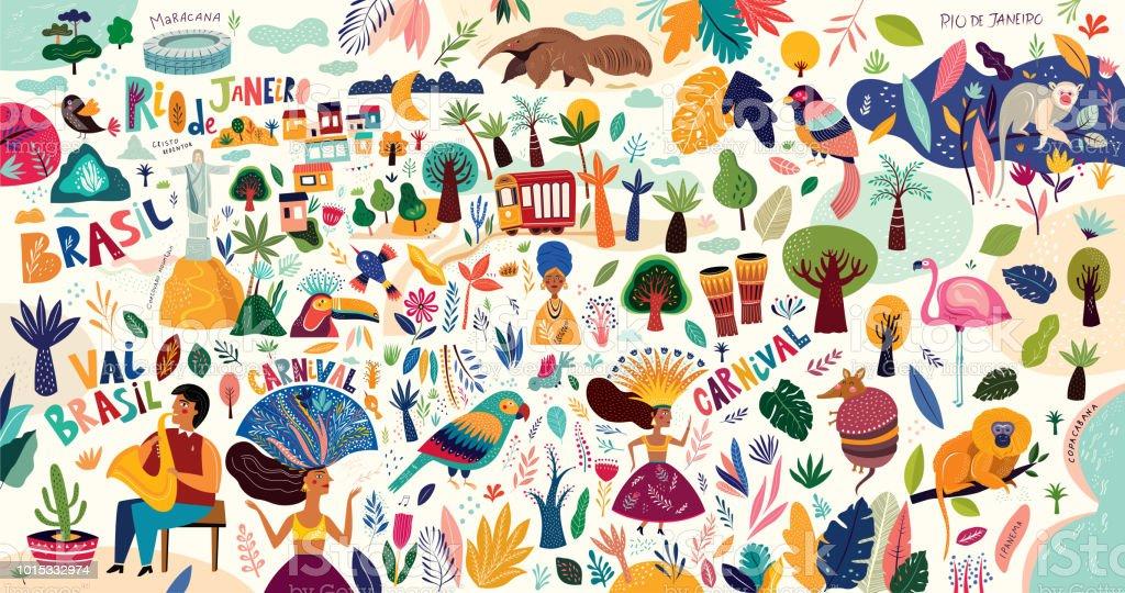 Brazilian symbols vector art illustration