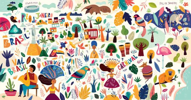 ilustraciones, imágenes clip art, dibujos animados e iconos de stock de símbolos brasileños - viaje a sudamérica