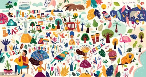 Brazilian Symbols Stock Illustration - Download Image Now
