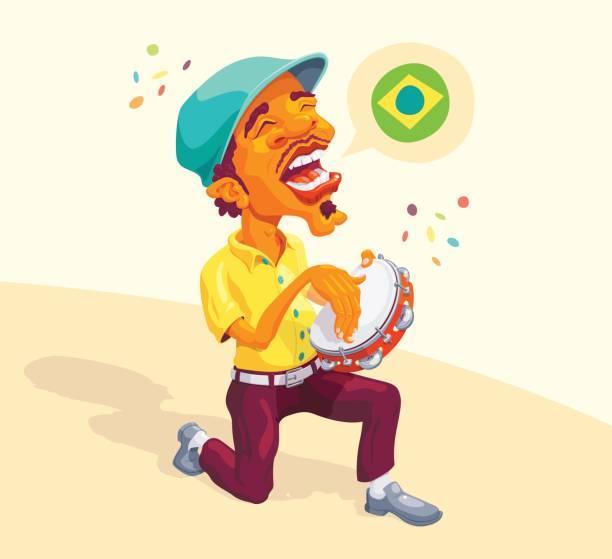 stockillustraties, clipart, cartoons en iconen met speler van de braziliaanse tamboerijn - tamboerijn