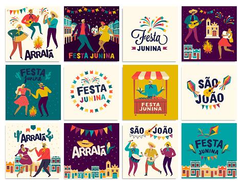 Brazilian Traditional Celebration Festa Junina. Portuguese Brazilian Text saying Friend s Village. Festa de Sao Joao. Arraia Portuguese Brazilian Text saying Fair. Vector Art.