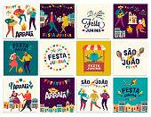 Brazilian Traditional Celebration Festa Junina. Portuguese Brazilian Text saying Friend s Village. Festa de Sao Joao. Arraia Portuguese Brazilian Text saying Fair. Festive Typographic Vector Art.
