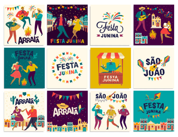 stockillustraties, clipart, cartoons en iconen met braziliaanse traditionele viering festa junina. portugese braziliaans tekst die vriend s dorp zegt. festa de sao joao. arraia portugese braziliaanse tekst te zeggen fair. vector kunst. - juni