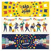 Brazilian Traditional Celebration Festa Junina. Portuguese Brazilian Text saying Friends Village. Festa de Sao Joao. Arraia Portuguese Brazilian Text saying Fair.