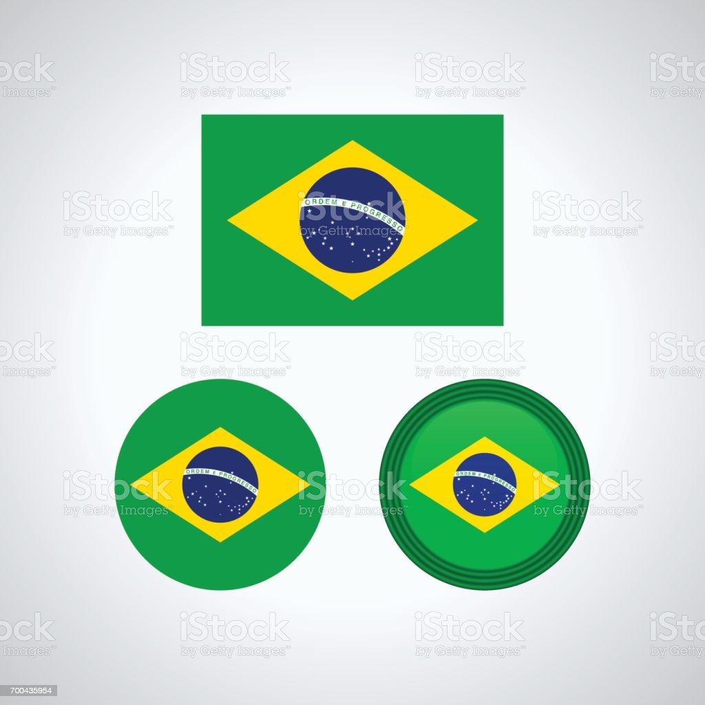 Brazilian trio flags, vector illustration