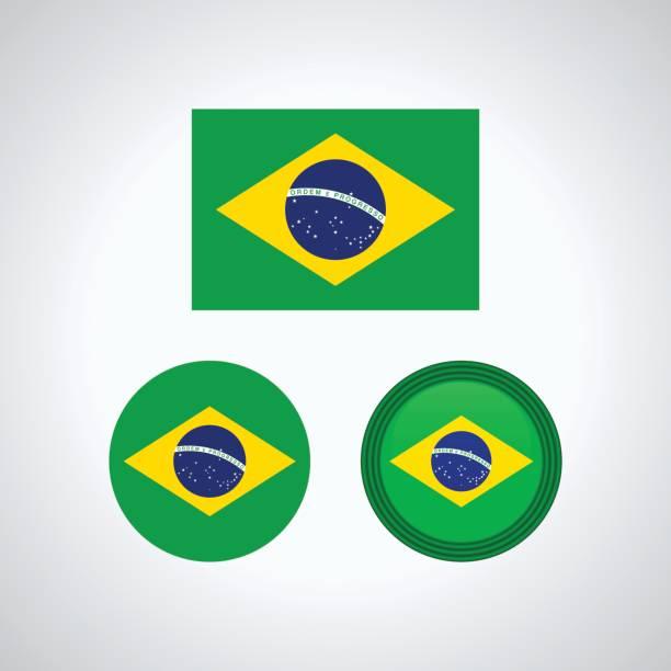 Trio brésilien drapeaux, illustration vectorielle - Illustration vectorielle