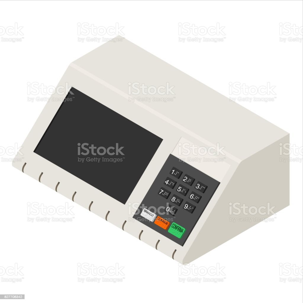 Brazilian voting machine vector illustration isolated on white background vector art illustration