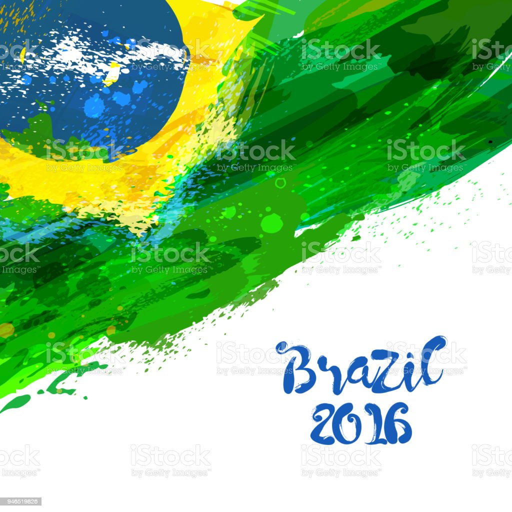 Brazilian watercolor flag