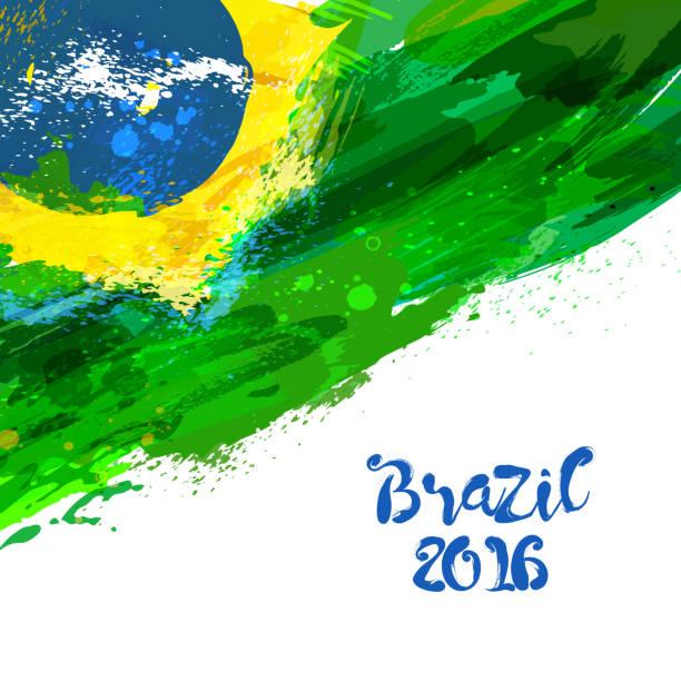 ilustrações, clipart, desenhos animados e ícones de bandeira de aquarela brasileira - brazil
