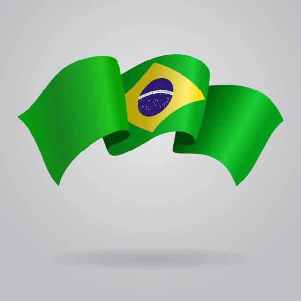 Agitant le drapeau brésilien. illustration vectorielle - Illustration vectorielle