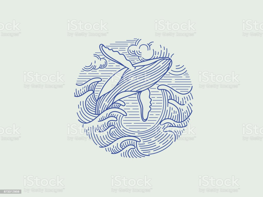 Breaching humpback whale vector art illustration