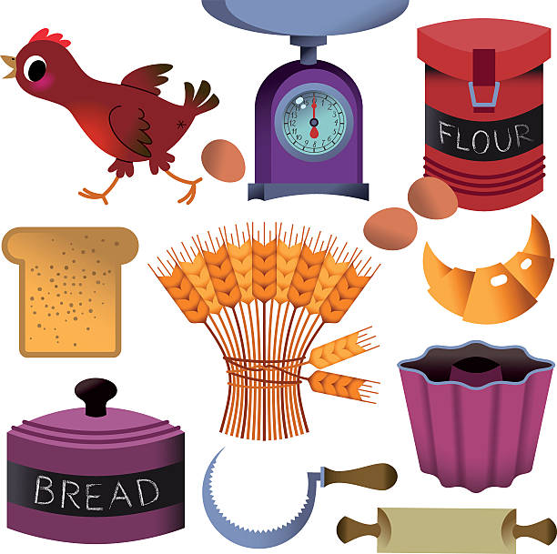 bäckerei brot und illustrationen. - dinkelbrot stock-grafiken, -clipart, -cartoons und -symbole