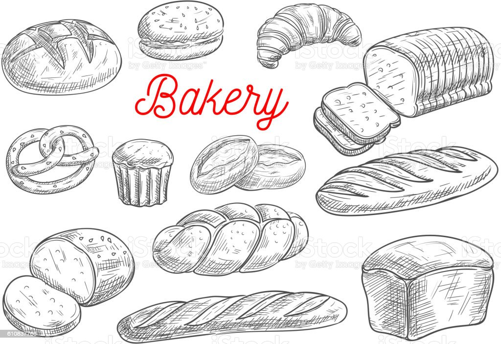 Bread and bakery products vector sketches向量藝術插圖