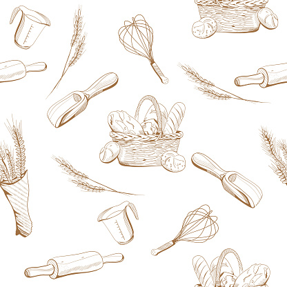 Bread and bakery seamless pattern in engraving style.Ears of wheat and a wicker basket with buns,french loaves,baguette.Menu decoration,farmers market.