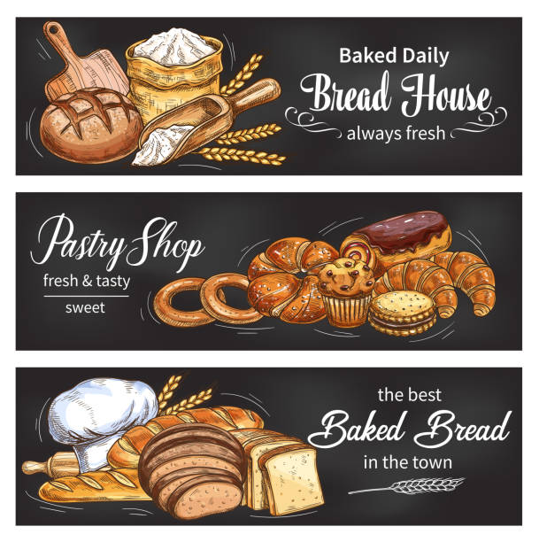 Bread and bun banner for bakery shop template Bread blackboard banner set for bakery and pastry shop template. Fresh bread, baguette and croissant, bun, cupcake and cake, cookie, bagel and sweet roll chalk sketch with wheat flour and baker hat pastry dough stock illustrations