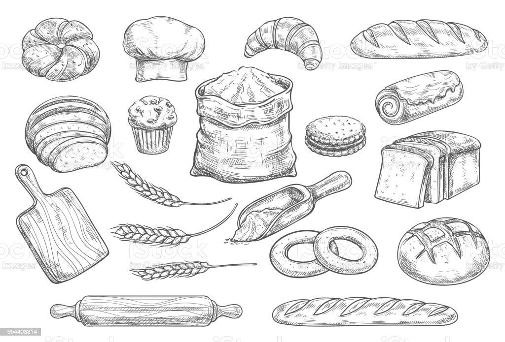 Ilustración De Dibujo De Pan Y Pan De Panadería Y