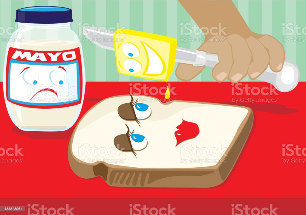 Bread and Butter Love Triangle! royalty-free bread and butter love triangle stock vector art & more images of bread