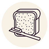 A thin line icon from a set of breakfast themed icons. Bread and Butter.