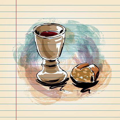 Bread and Chalice  Drawing on Ruled Paper