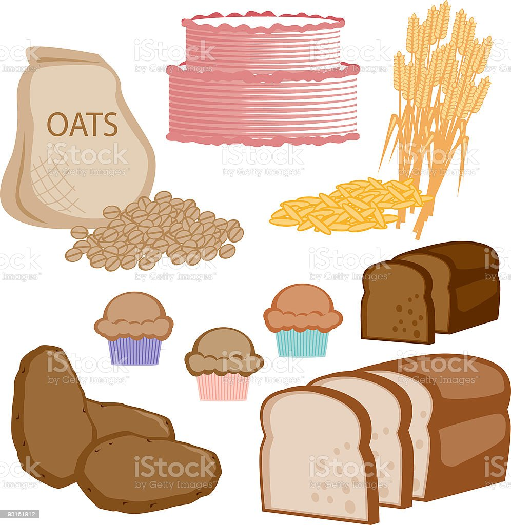 Bread and Grains Icons vector art illustration