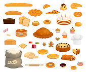 Bread and pastry sweet desserts icons. Bakery product signs of bread, baguette and croissant, toast, cake and bun, donut, cupcake and pie, cookie, waffle and gingerbread, pancake and pretzel
