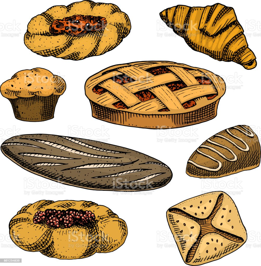 bread and pastry donut long loaf and fruit pie cupcake and sweet bun