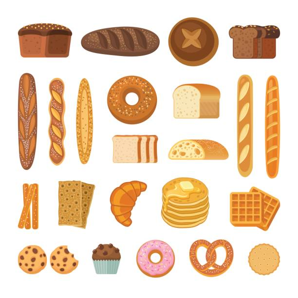 illustrazioni stock, clip art, cartoni animati e icone di tendenza di bread and rolls collection. - pane forno