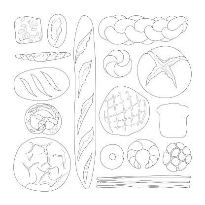 Bread arrangement Line Drawing (Knolling)