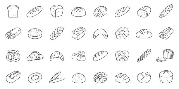 Bread bakery baking loaf thin line icon vector set Bread thin line icon set. Bakery collection of simple outline signs. Fresh baking symbol in linear style. Toast, baguette, bun contour flat icons design. Isolated on white concept vector Illustration bread stock illustrations